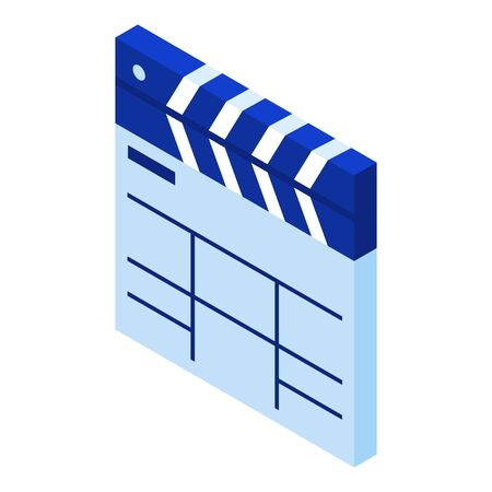 Video clapper icon. Isometric of video clapper vector icon for web design isolated on white background Illustration