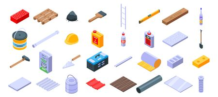 Construction materials icons set, isometric style Illusztráció