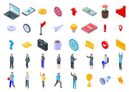 Entrepreneur icons set, isometric style