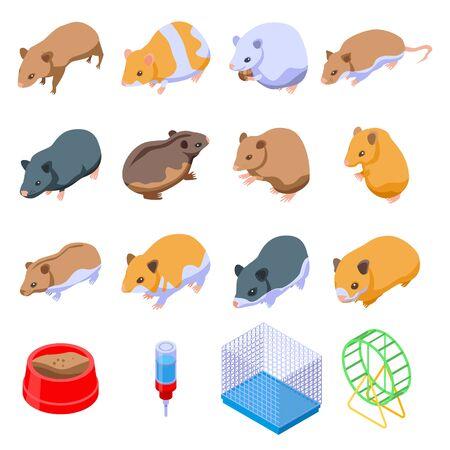 Hamster icons set, isometric style