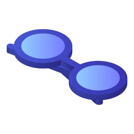 Round eyeglasses icon, isometric style