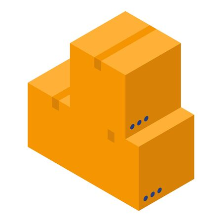 Parcel boxes icon, isometric style