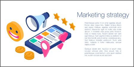 Marketing strategy concept banner. Isometric illustration of marketing strategy vector concept banner for web design Illustration