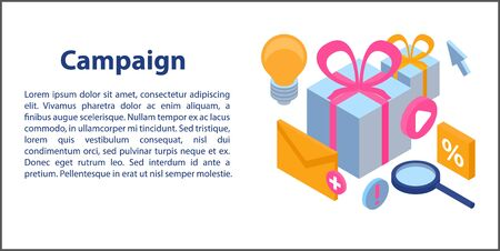 Campaign concept banner. Isometric illustration of campaign vector concept banner for web design