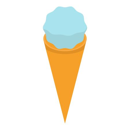 Blue cone ice cream icon, isometric style Illustration