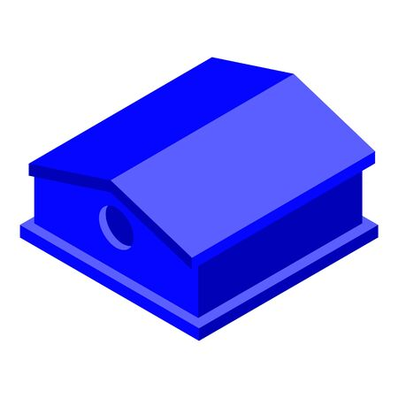 Blue bird house icon, isometric style