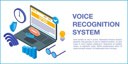Voice recognition system concept banner, isometric style