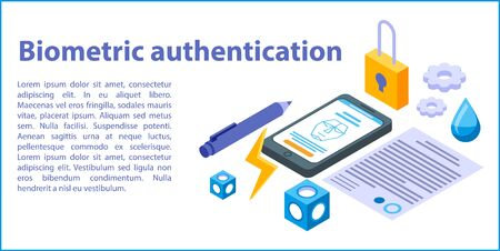 Biometric authentication concept banner, isometric style Illustration