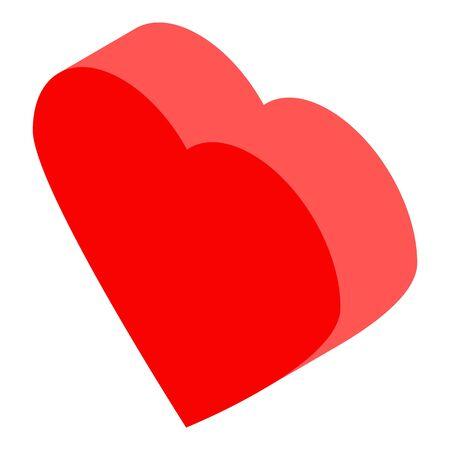 Red heart icon, isometric style Ilustración de vector