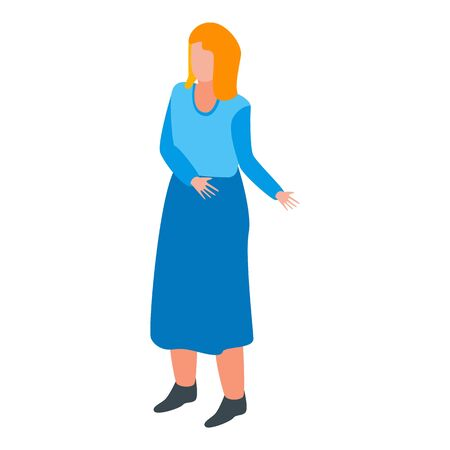 Woman manager icon, isometric style