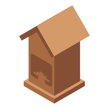 Roof bird house icon, isometric style