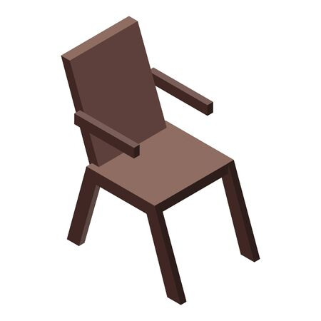 Outside wood chair icon, isometric style