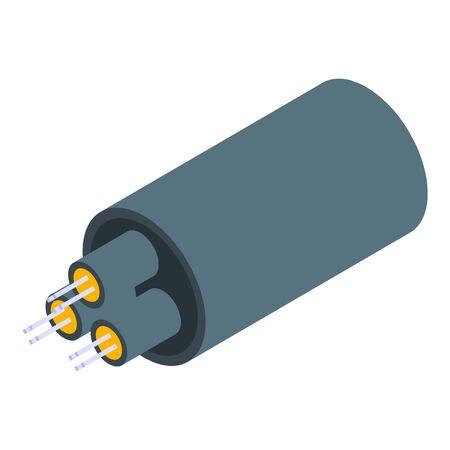 Optical fiber icon, isometric style Illustration