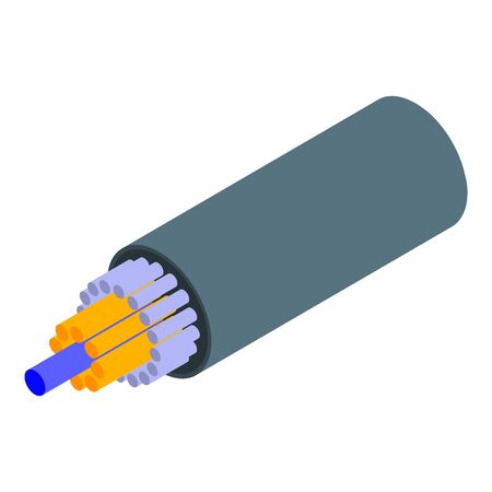 High speed optical cable icon, isometric style