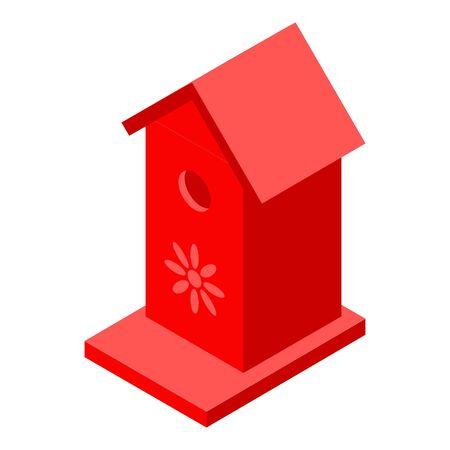 Red bird house icon, isometric style Standard-Bild - 134737897