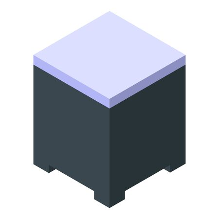 Wood drawer icon, isometric style