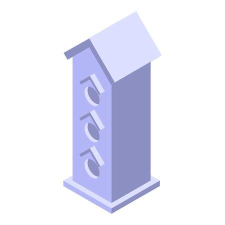 High bird house icon, isometric style