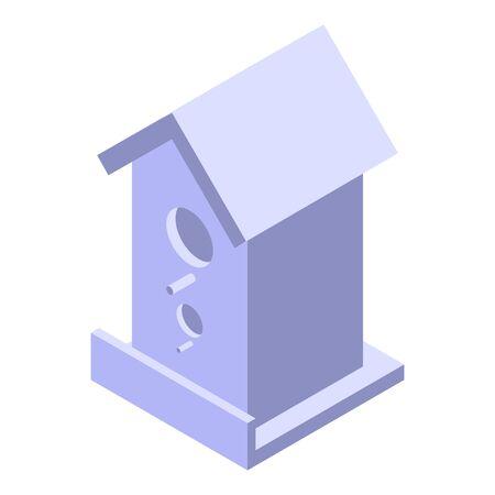 Cute white bird house icon, isometric style