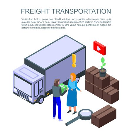 Freight transportation concept banner, isometric style
