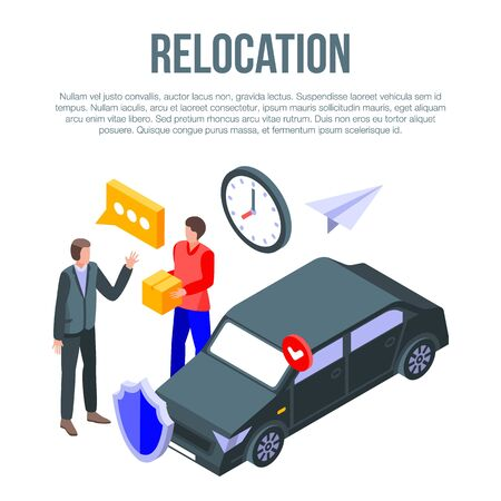 Relocation concept banner, isometric style