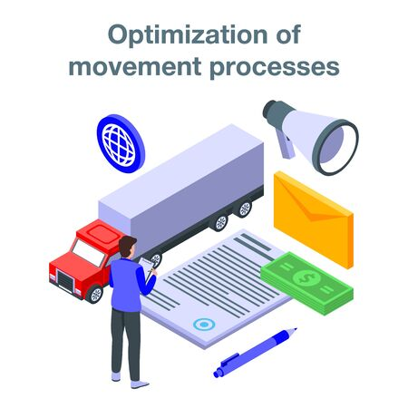 Optimization of movement process concept banner, isometric style Illustration