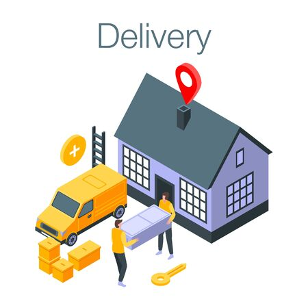 Delivery concept banner, isometric style