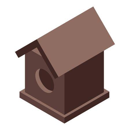 Autumn bird house icon, isometric style