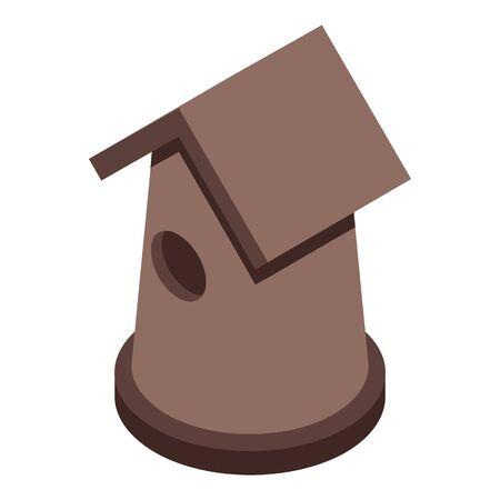 Homemade bird house icon, isometric style