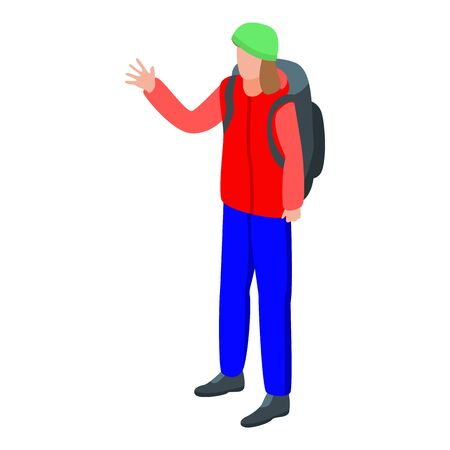 Hiking man icon, isometric style  イラスト・ベクター素材