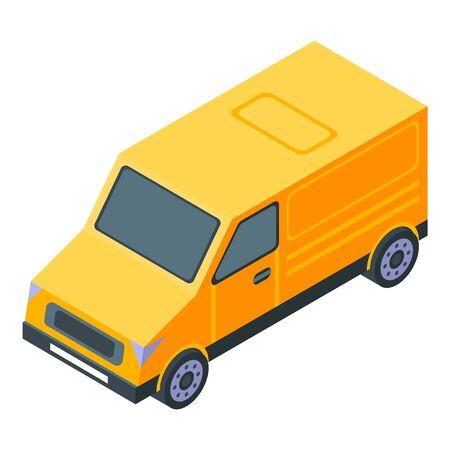 Yellow van icon, isometric style