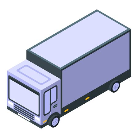 Parcel truck icon, isometric style