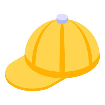 Yellow baseball cap icon. Isometric of yellow baseball cap vector icon for web design isolated on white background Stock Vector - 134903478