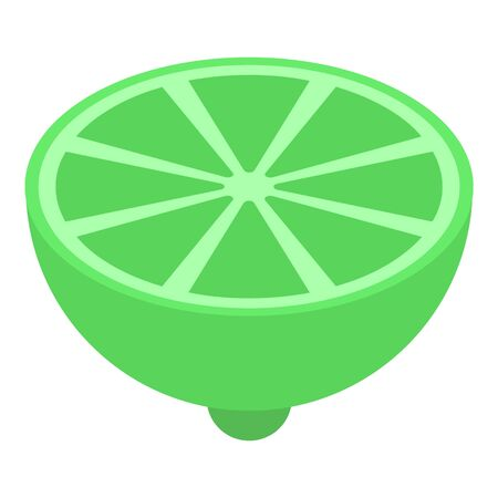 Half lime icon, isometric style