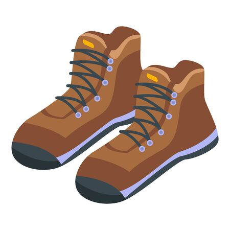 Hiking boots icon, isometric style Vetores