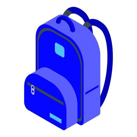 Blue school backpack icon, isometric style