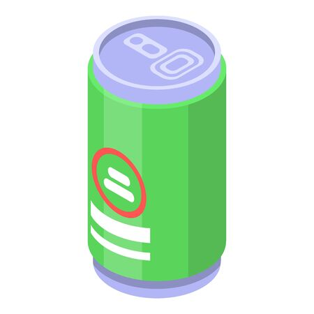 Lime tin can icon, isometric style