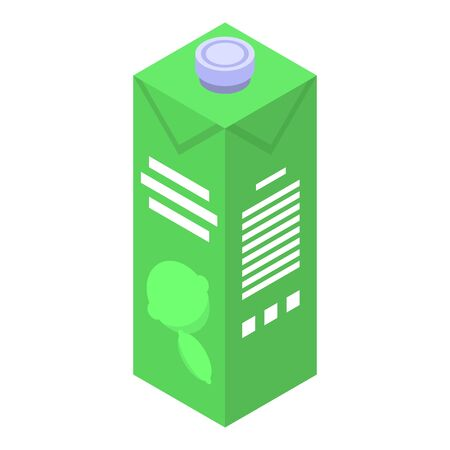Lime juice package icon, isometric style