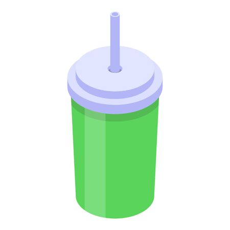 Lime juice plastic cup icon, isometric style