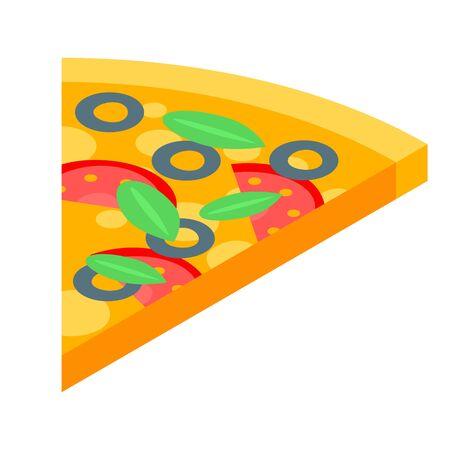 Pizza slice icon, isometric style