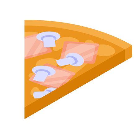 Mushroom pizza slice icon, isometric style Illustration