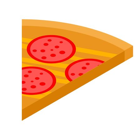 Sausage pizza slice icon, isometric style