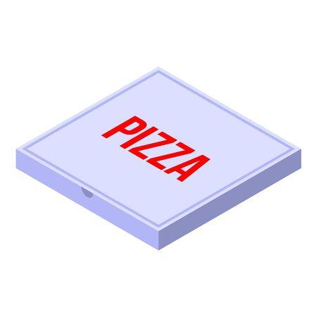 Pizza carton box icon, isometric style