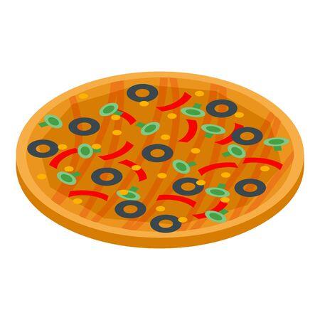 Vegetarian pizza icon, isometric style