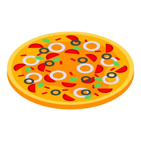 Sausage olives pizza icon, isometric style