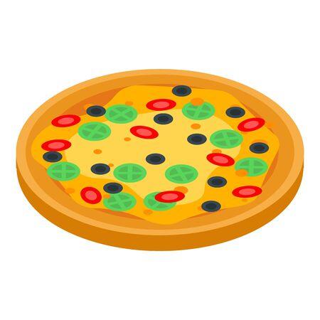 Italian pizza icon, isometric style