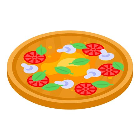 Capriciosa pizza icon, isometric style Illustration
