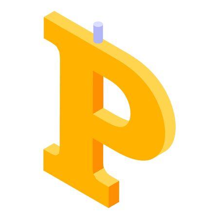 P letter burning candle icon, isometric style
