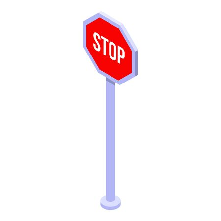 Stop and give way icon. Isometric of stop and give way vector icon for web design isolated on white background Illustration