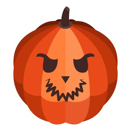 Cute eyes pumpkin icon. Isometric of cute eyes pumpkin vector icon for web design isolated on white background
