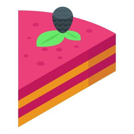 Blackberry piece cake icon, isometric style 向量圖像
